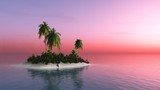 tropical island at sunset, palm trees under the sun, 3D rendering - 209487286