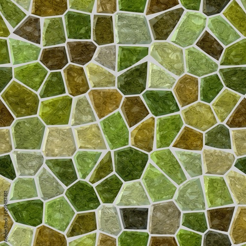 surface floor marble mosaic pattern seamless background with gray grout - green, khaki and brown color - 209487481