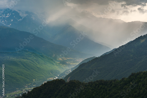 Aluminium Groen blauw Landscape with majestic mountains