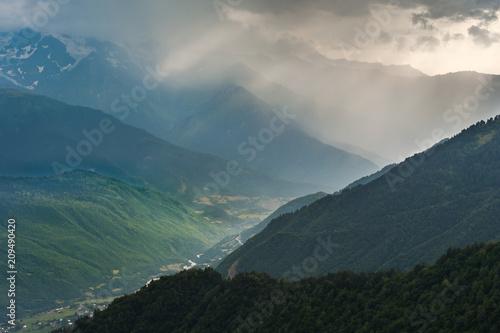 Fotobehang Groen blauw Landscape with majestic mountains