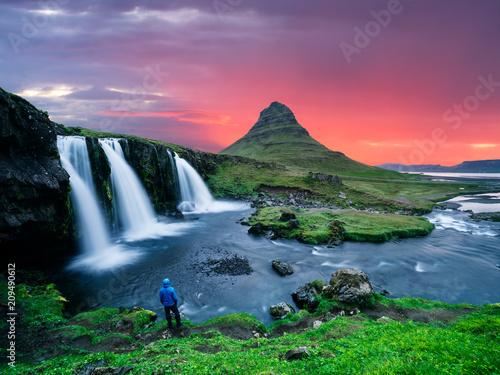 Fotobehang Lavendel Kirkjufellsfoss - the most beautiful waterfall in Iceland