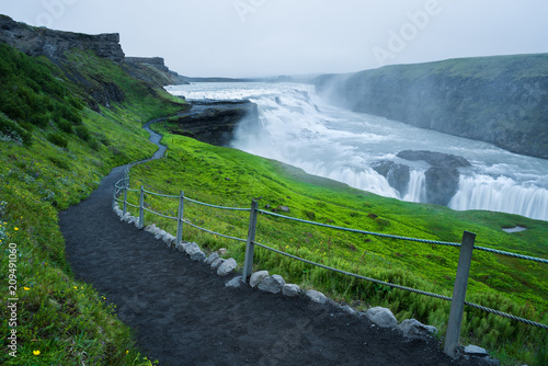 Gullfoss Waterfall, tourist attraction of Iceland - 209491060