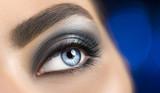 Woman blue eye with perfect makeup. Beautiful professional smokey eyes holiday make-up. Eyebrows shaping, eyes and eyelashes. Skin care - 209494691