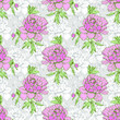 Elegance Seamless pattern with peonies or roses flowers - 209499226