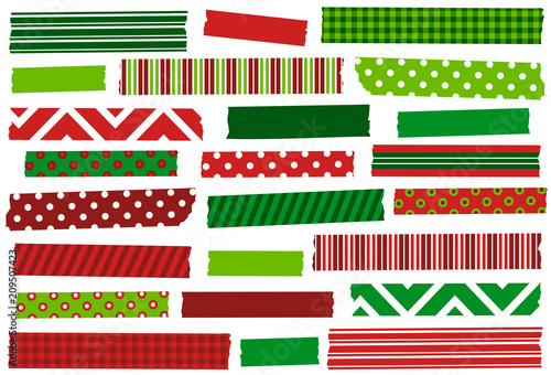 christmas red and green washi tape strips eps file has global colors for easy color - Why Are Red And Green Christmas Colors
