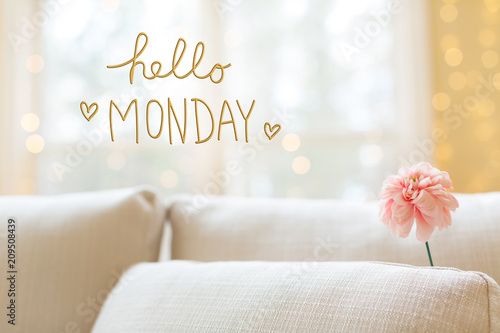 Hello Monday message with a flower in a bright interior room sofa