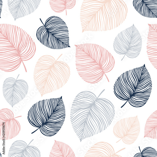 Seamless pattern with hand draewn leaves. - 209511674