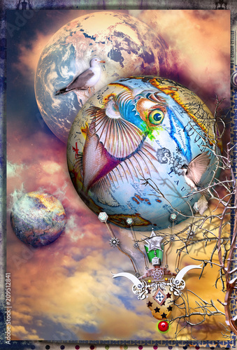 Fotobehang Imagination Steampunk hot air balloon in flight in an enchanted sky
