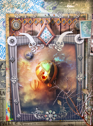 Fotobehang Imagination Fantastic flight of steampunk hot air balloons in a gothic and fairytale frame