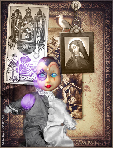 Fotobehang Imagination Pierrot's mask in a mysterious and bewitched interior