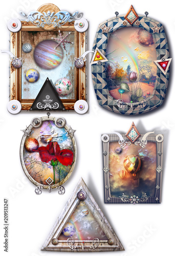Fotobehang Imagination Fantastic landscapes, fairytale and enchanted in gothic and steampunk frames