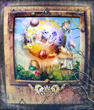 Fantastic landscapes, fairytale and enchanted in gothic and steampunk frames