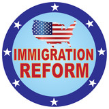 Immigration Reform USA Map Button vector Illustration - 209515490