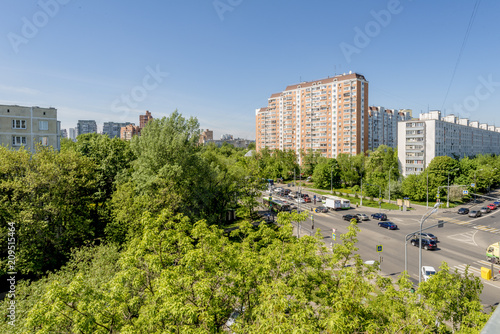 View from above on residential blocks and streets of Moscow