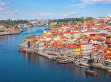 View on the historical part of Porto and the Douro river in. sunny spring morning, Portugal. - 209519089
