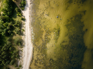 drone image. aerial view of Baltic sea shore with rocks and forest on land