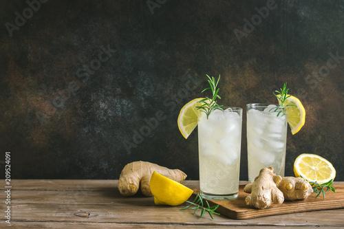 Leinwanddruck Bild Ginger Ale or Kombucha