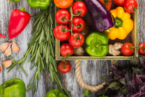 Set of different fresh raw colored vegetables in the wooden tray