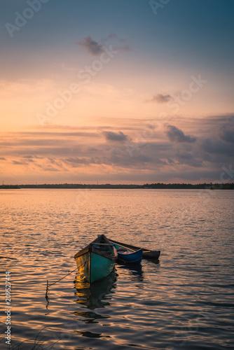 Foto Murales Fishing Boat Standing River Side
