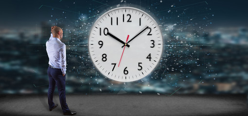 Man holding a clock timer 3d rendering
