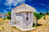 Church traditional greek island blue sky with white clouds - 209531820