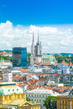 Panoramic view on Zagreb center and catholic cathedral, Croatia  - 209532415