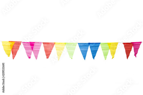 Foto Murales Birthday decoration flags isolated on white background