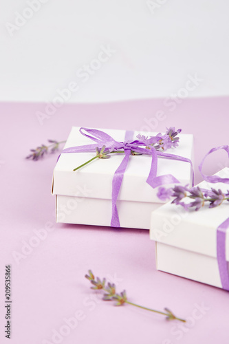 White Gift box with violet ribbon and lavender - 209535866
