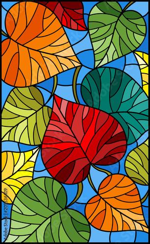 ilustracja-w-witrazu-stylu-z-kolorowymi-liscmi-na-blekitnym-tle