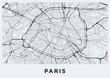 Paris city map. Map of Paris (France). Black and white (light) poster with parisian street map. Paris map illustration.