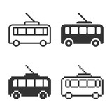 Monochromatic trolleybus icon in different variants: line, solid, pixel, etc.