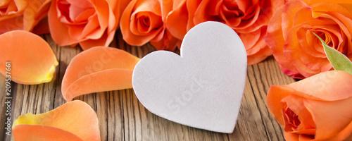 Leinwanddruck Bild Dekoration  -  Herz und Rosen