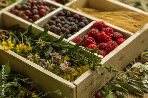Foto Murales Box of fresh seasonal summer berries with cherry,  gooseberries, blackberries, and raspberries