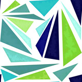 Seamless Pattern of Green and Indigo Triangles - 209543063