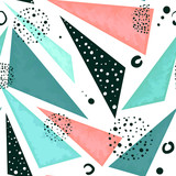 Seamless Pattern of Triangles in Pastel Colors and Black Dots - 209543073
