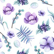 Seamless Pattern of Watercolor Violet Flowers and Green Leaves