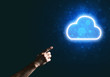 Digital cloud icon as symbol of wireless connection on dark background
