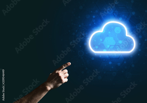 Foto Murales Digital cloud icon as symbol of wireless connection on dark background