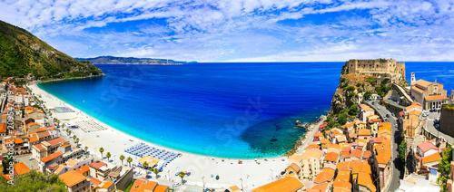 Fotobehang Freesurf Italian summmer holidays. beautiful beaches and towns of Calabria - Scilla