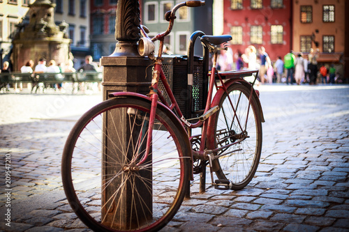 Old Bicycle in city