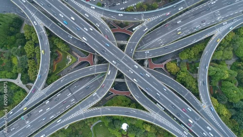 aerial shoot video of city interchange in shanghai
