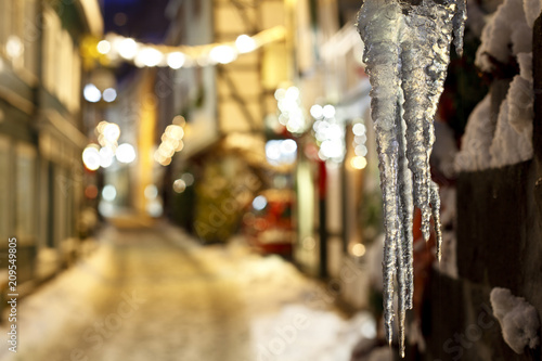 Icicles In A Christmassy Street At Night, Monschau, Germany © IndustryAndTravel