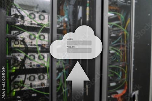 Foto Murales Cloud storage, data access, login and password request window on server room background. Internet and technology concept.