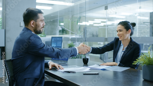 Businesswoman and Businessman Shake Hands. Draw up a Contract, Filling Papers in Conference Room. In the Background Modern Bright Office with Glass Walls.
