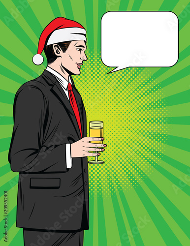 Aluminium Pop Art Vector colorful comic style illustration of a handsome man drinking champagne at Christmas corporate party. Manager standing in profile in suit in Santa Claus hat