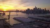Manhattan sunset flying clockwise around Bkln waterfront - 209554235