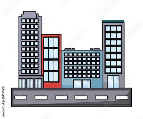 ulica z budynków miasta na białym tle, ilustracji wektorowych
