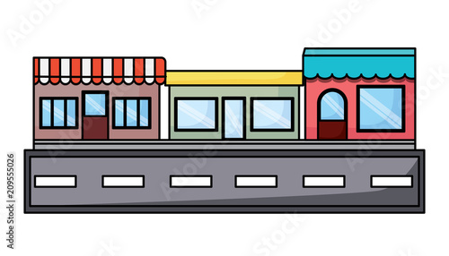 street with stores over white background, vector illustration