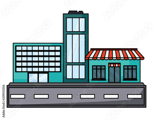 Wall mural street with stores and buildings over white background, vector illustration