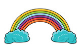 rainbow and clouds over white background, vector illustration - 209555287